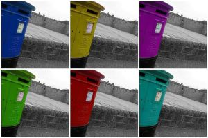 Postboxes of differing hues